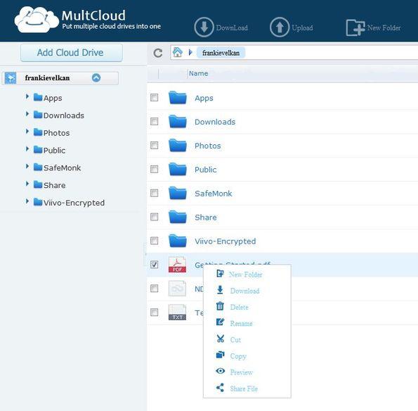 MultCloud selecting files