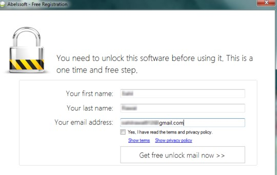 MyKeyFinder- provide name and email address to unlock MyKeyFinder