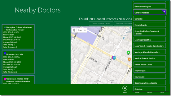Nearby Doctors - filtering search