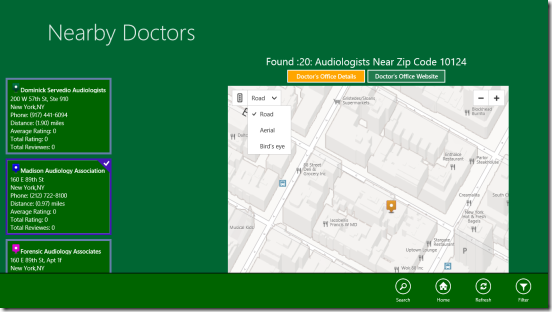 Nearby Doctors - mapping a search result