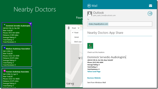 Nearby Doctors - sharing via mail