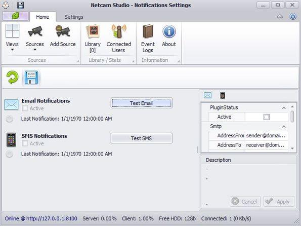 Netcam Studio client settings