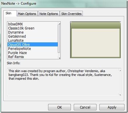 NexNote- configure window