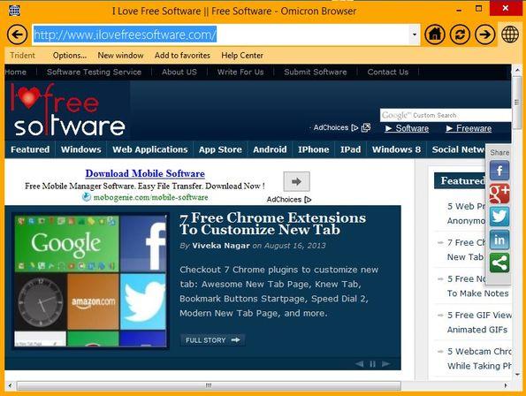 Omicron Browser default window