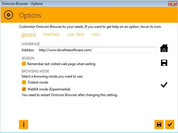 Omicron Browser settings