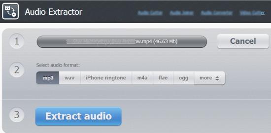 Online Audio Extractor- interface