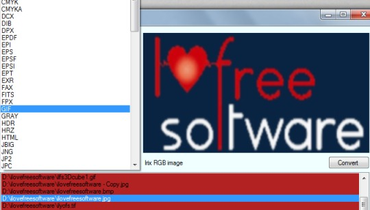 Open Source Image Converter- select output format