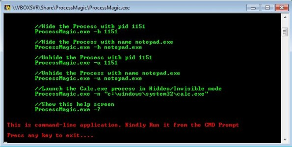 Process Magic default window