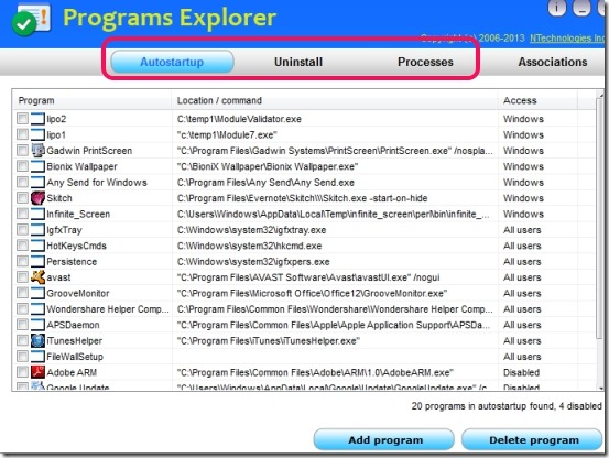Programs Explorer- interface
