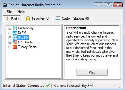 Radioz default window