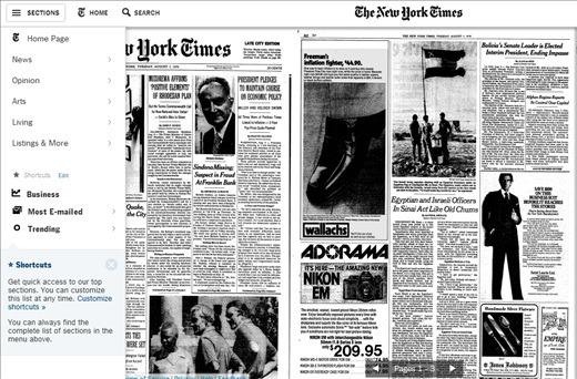 interface of NY Times app