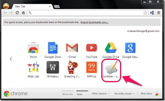 Scribble Icon on new tab page