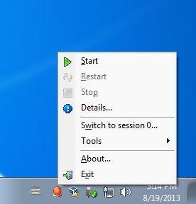 ServiceTray default window