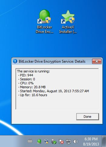 ServiceTray managing bit locker icons