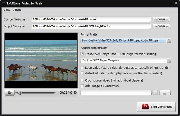 Soft4Boost Video to Flash select file settings