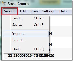 SpeedCrunch Portable- save session