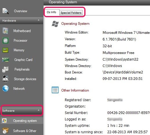 Sys Information- Software tab