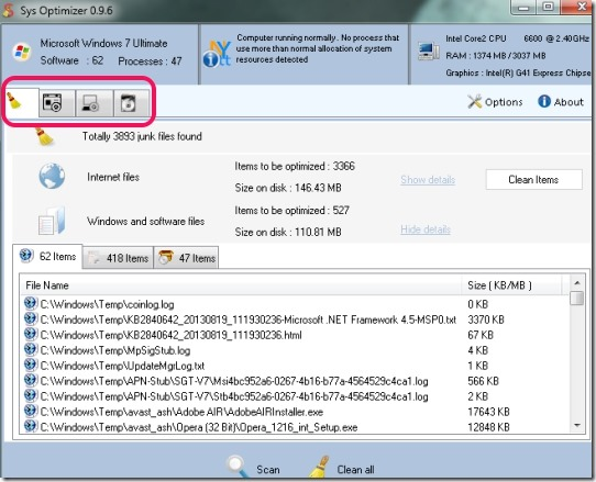 Sys Optimizer- interface
