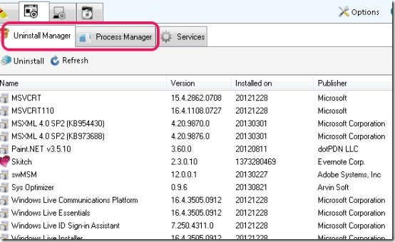 Sys Optimizer- software tab