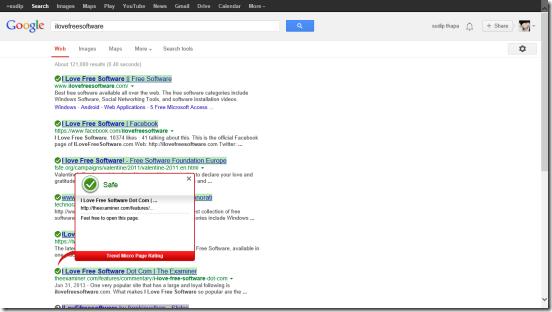 Trend Micro SmartSurfing - Google Search results