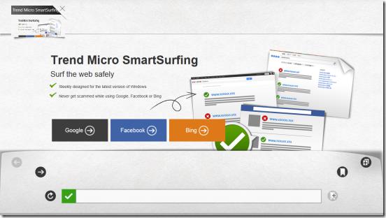 Trend Micro SmartSurfing - Welcome Screen