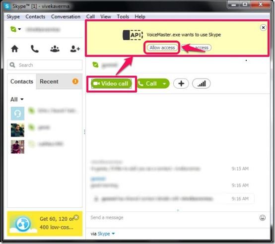 VoiceMaster SkypeAPI access