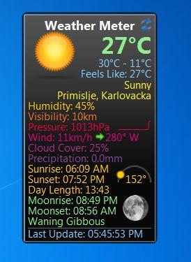 Weather Meter default window