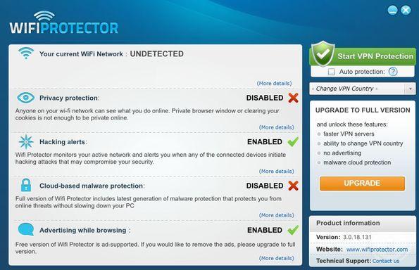 Wifi Protector default window