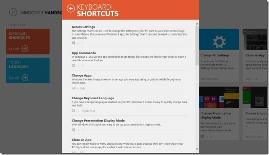 Windows 8 Handbook-keyboard shortcuts