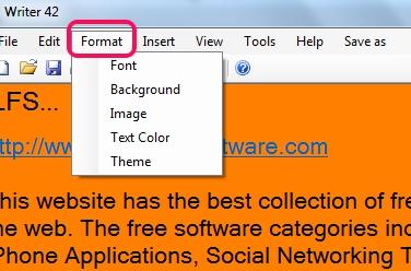 Writer 42- format menu
