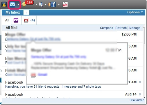 Yahoo! Toolbar- check inbox emails