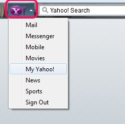 Yahoo! Toolbar for Firefox- drop down menu