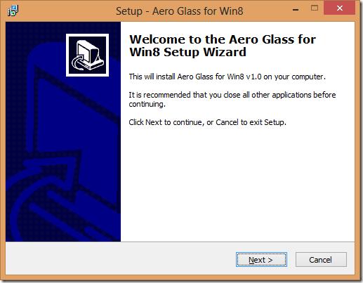 Aero glass for win8 setup