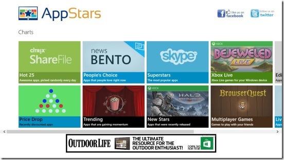 App Stars - main screen