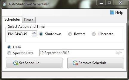 AutoShutdown Scheduler - The Free Shutdown Scheduler - Interface