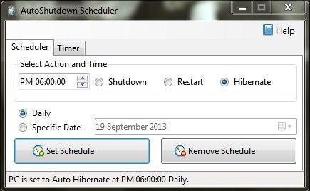 AutoShutdown Scheduler - The Free Shutdown Scheduler - Scheduling Hibernate