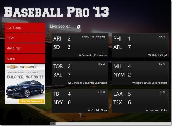 Baseball Pro  live scores