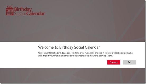 Birthday Social Calendar - connecting to facebook