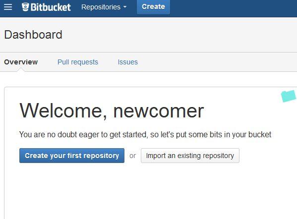 BitBucket - Welcome Screen