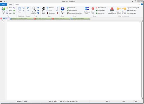 Bowpad-text editor-Interface