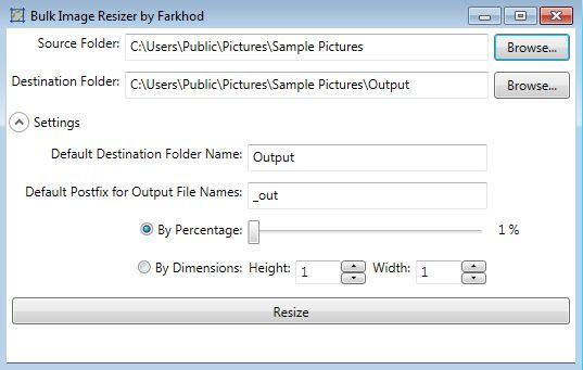 Bulk Image Resizer default window