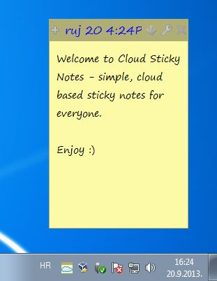 Cloud Sticky default window