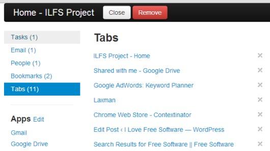 Contextinator- opened tabs list