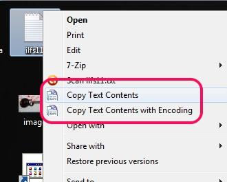 Copy Text Contents- context menu options