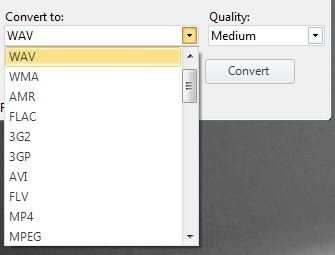 Easy Convert- select output format and convert