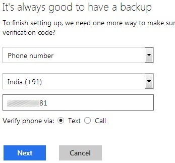Enable Two Step Authentication in Hotmail- Phone Number option