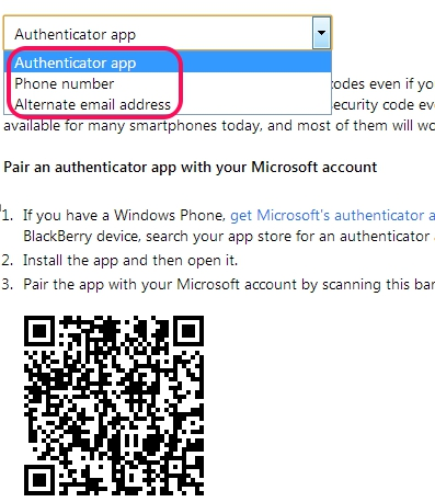 Enable Two Step Authentication in Hotmail- select an option
