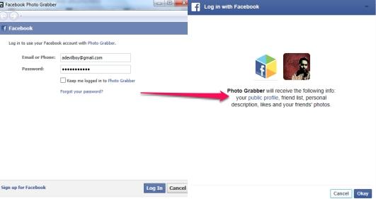 Facebook Photo Grabber- log in with Facebook