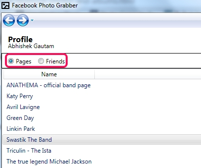 Facebook Photo Grabber- pages and friends option