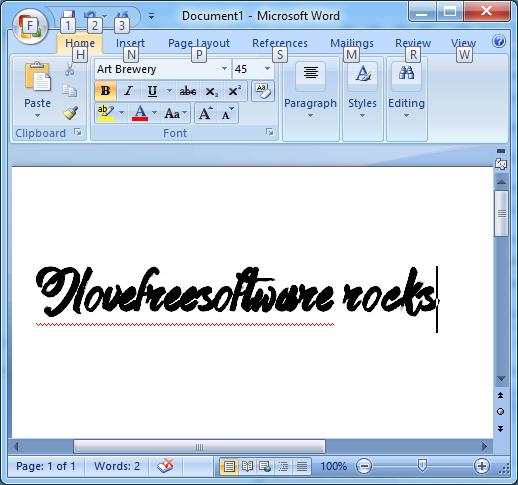 Font installed